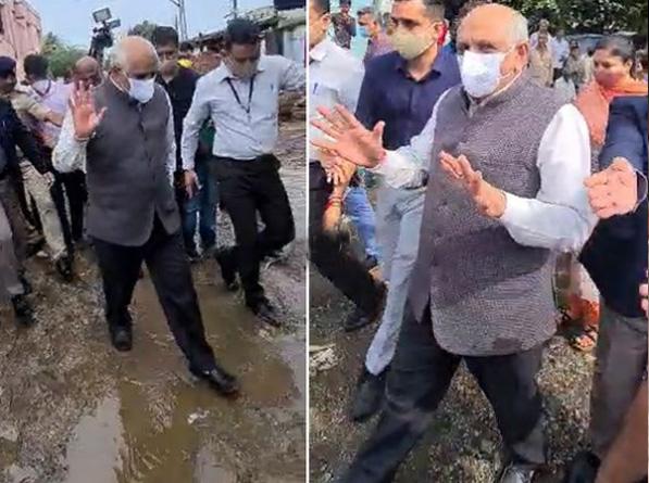 सीएम भूपेंद्र पटेल बाढ़ प्रभावित क्षेत्रों का दौरा करने सौराष्ट्र पहुंचे, पीड़ितों को हरसंभव मदद देने का दिया आश्वासन|गुजरात,Gujarat - Dainik Bhaskar