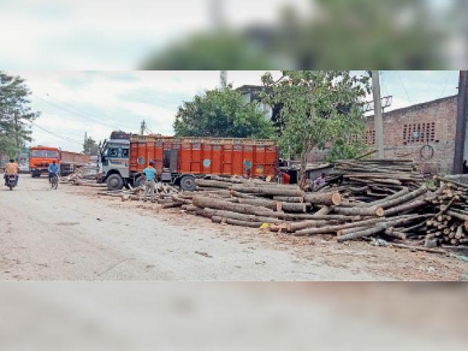 यमुनानगर| औद्योगिक क्षेत्र में ग्रीन बेल्ट की जगह पर लोड-अनलोड होता फैक्ट्रियों का कच्चा माल। - Dainik Bhaskar