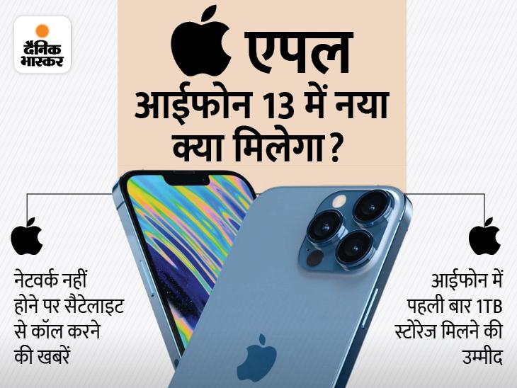 रात 10:30 बजे शुरू होगा इवेंट: एपल आईफोन 13 में सैटेलाइट से कॉलिंग और 1TB स्टोरेज मिलने की खबर, एपलवॉच 7 और एयरपॉड्स 3 भी लॉन्च होंगे