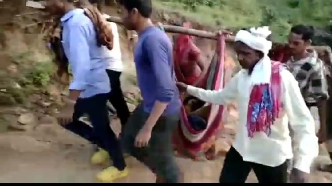 तामिया के घाना कोडिया गांव में नहीं सड़क, बीमार महिला को डोली में टांग कर पहुंचाया अस्पताल|छिंदवाड़ा,Chhindwara - Dainik Bhaskar