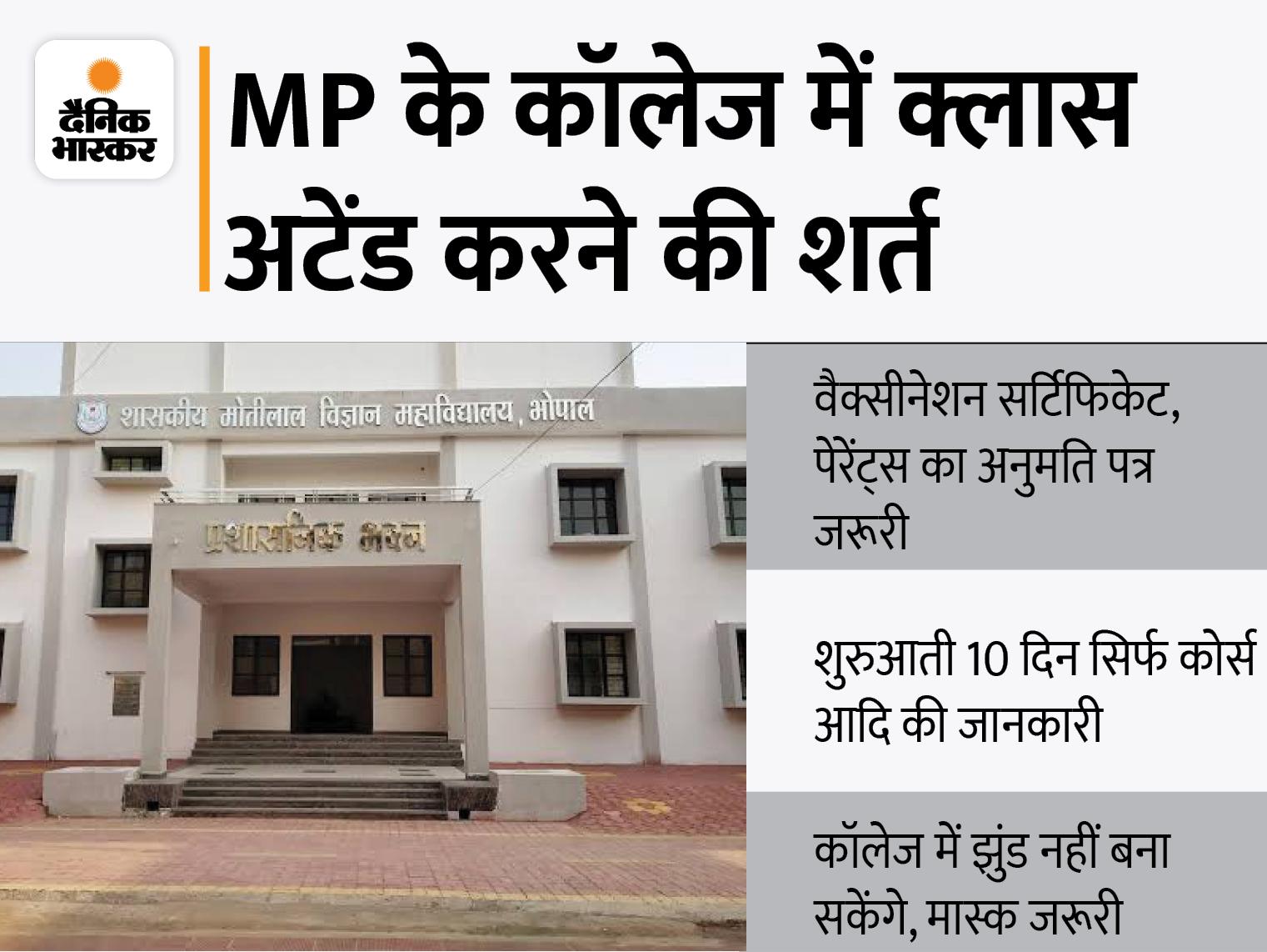 वैक्सीनेशन सर्टिफिकेट और पैरेंट्स की अनुमति जरूरी; अभी कोर्स-सब्जेक्ट्स के बारे में बताएंगे, फ्रेशर्स को अभी हॉस्टल में एंट्री नहीं|मध्य प्रदेश,Madhya Pradesh - Dainik Bhaskar