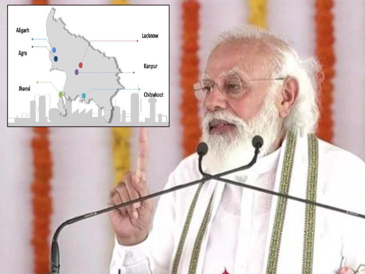 पीएम मोदी ने आज अपने अलीगढ़ दौरे पर अलीगढ़ में डिफेंस कॉरिडोर के अलीगढ़ नोड का अवलोकन किया। (इनसेट में समझें कॉरिडोर के UP में 6 नोड) - Dainik Bhaskar
