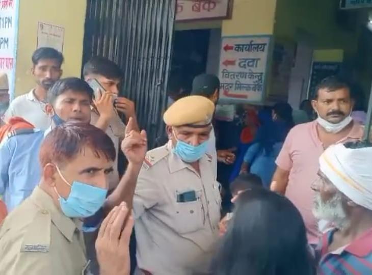 गर्भवती महिला के परिजनों को अस्पताल में जाने से रोका, इसके बाद हाथापाई तक हो गई, पुलिस ने मामला शांत कराया अलवर,Alwar - Dainik Bhaskar