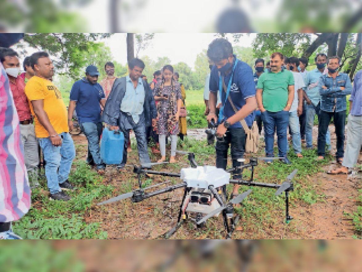 दवा के छिड़काव के लिए ड्रोन उड़ाता टेक्नीशियन। - Dainik Bhaskar