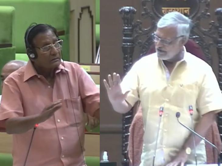 विधानसभा में संसदीय कार्यमंत्री शांति धारीवाल स्पीकर सीपी जोशी से बहस करते हुए - Dainik Bhaskar