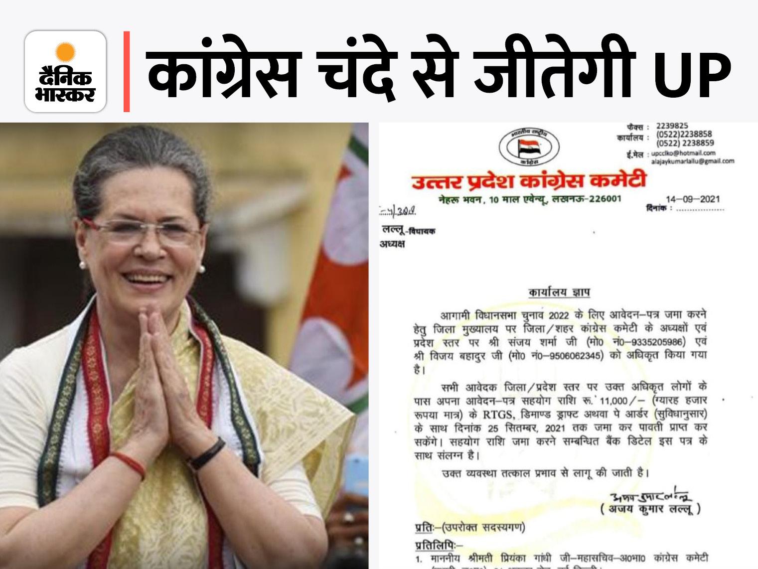 पार्टी ने पहली बार चुनाव के लिए फंड जुटाने का तरीका निकाला; 25 दिसंबर तक आवेदन के साथ जमा करना होगा पैसा|लखनऊ,Lucknow - Dainik Bhaskar