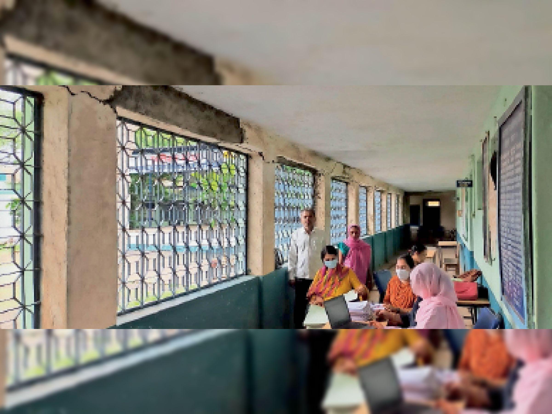 जर्जर भवन में संचालित कन्या हायर सेकंडरी स्कूल। - Dainik Bhaskar