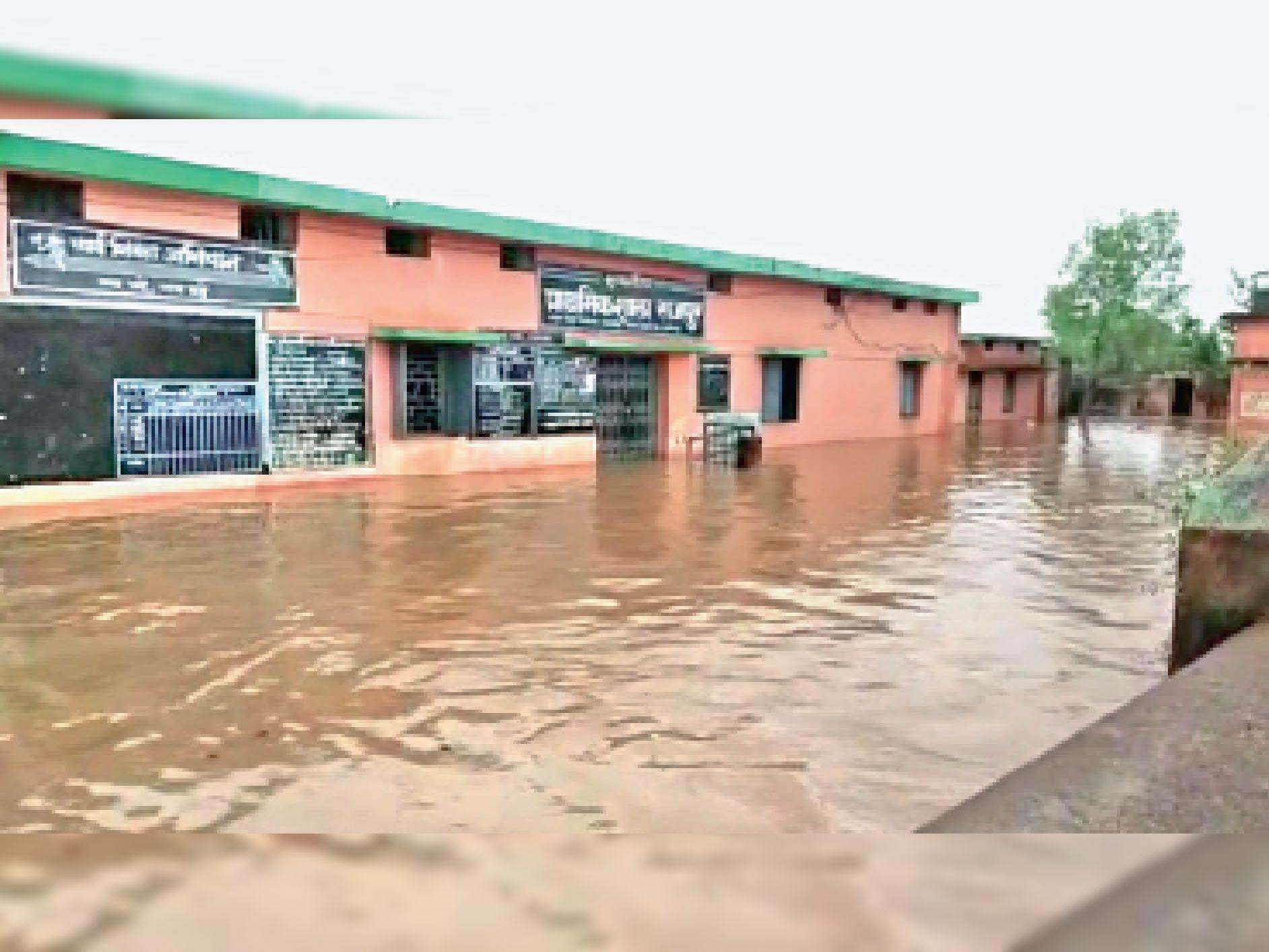 मगरलोड ब्लॉक के राजपुर स्कूल में 2 फीट पानी भर गया। स्कूल नहीं लगा। - Dainik Bhaskar