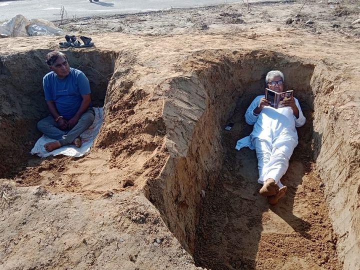 गाजियाबाद में जमीन अधिग्रहण के विरोध में 6 गांवों के किसान जमीन खोदकर लेटे देश,National - Dainik Bhaskar