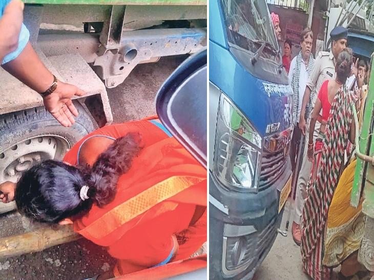 कलमबाग चौक पर टिपर की निकाली जा रही हवा दूसरी तस्वीर में चालक से बदसलूकी के बाद पुलिसकर्मी से होती बकझक। - Dainik Bhaskar
