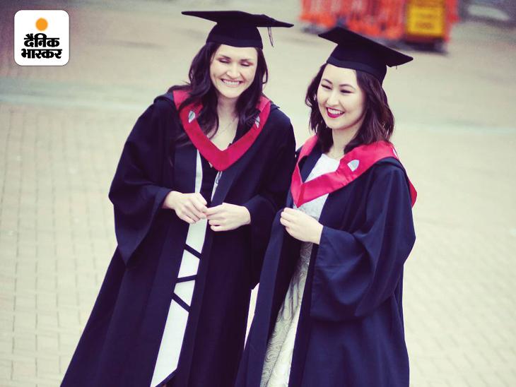 ब्रिटेन से फार्मा में PhD पूरी होने के बाद कन्वोकेशन में अपनी साथी स्टूडेंट के साथ डिग्री लेने पहुंचीं हुमैरा रजाई।