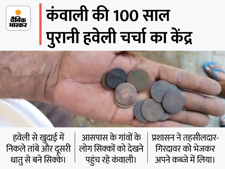 100 साल पुरानी हवेली से निकले सिक्के 70 से 80 साल पुराने, रेवाड़ी के गांव में 4 दिन से चल रही हवेली में खुदाई, पुरातत्व विभाग की टीम आएगी देखने|रेवाड़ी,Rewari - Dainik Bhaskar