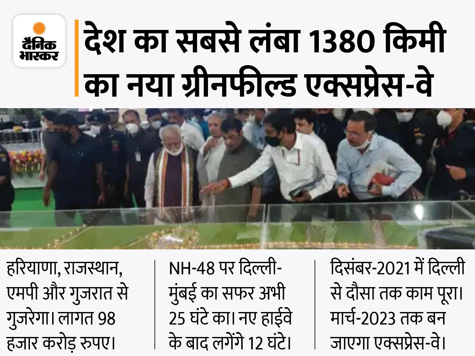 हरियाणा के 65 गांवों से गुजरेगा; नितिन गडकरी ने CM मनोहर लाल और केन्द्रीय मंत्री राव इन्द्रजीत के साथ किया निरीक्षण|रेवाड़ी,Rewari - Dainik Bhaskar