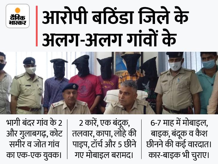 अवैध हथियारों और दो कारों के साथ CIA ने 5 को दबोचा, सभी आरोपी पंजाब के; 14 वारदातें कबूली|हिसार,Hisar - Dainik Bhaskar