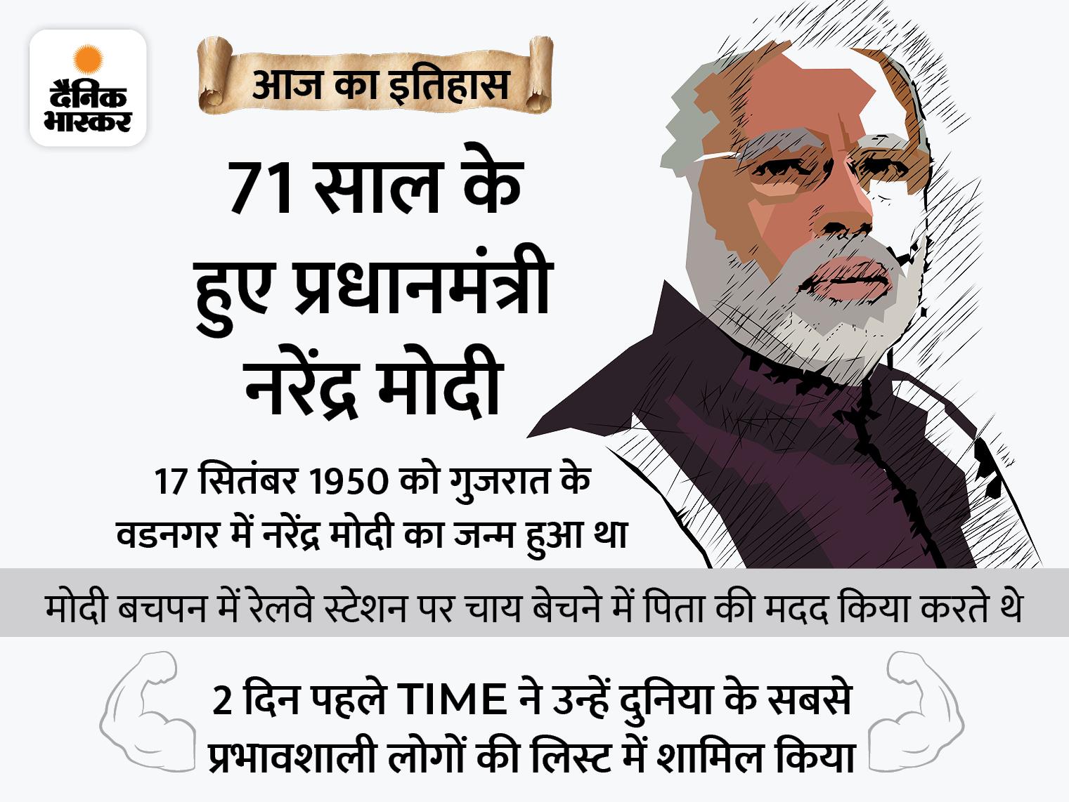 आजाद भारत में जन्म लेने वाले देश के पहले प्रधानमंत्री मोदी का आज जन्मदिन,BJP में आने के 16 साल बाद CM और 29 साल बाद PM बने|देश,National - Dainik Bhaskar