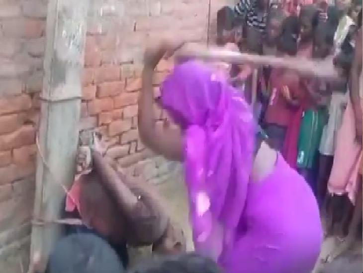 खगड़िया में घर में घुसकर कर रहा था छेड़छाड़; लोगों ने पकड़कर सिर मुंडवाया, बिजली के खंभे से बांधकर पीटा... देखें VIDEO|बिहार,Bihar - Dainik Bhaskar