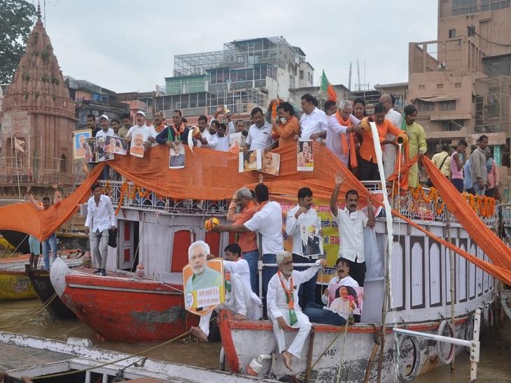 वाराणसी में मां गंगा को चढ़ाई गई 71 मीटर लंबी चुनरी, 71 बटुकों ने किया दुग्धाभिषेक; भारत माता मंदिर में जलेंगे 71 हजार दीप वाराणसी,Varanasi - Dainik Bhaskar