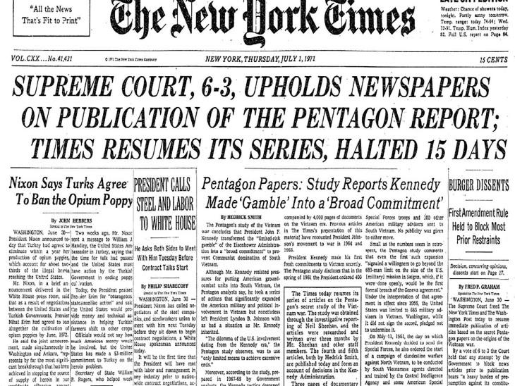 पेंटागन पेपर्स की रिपोर्टिंग पर रोक लगाने के लिए अमेरिकी सरकार सुप्रीम कोर्ट में चली गई थी। कोर्ट ने प्रेस की स्वतंत्रता का हवाला देते हुए फैसला अखबार के पक्ष में सुनाया था।