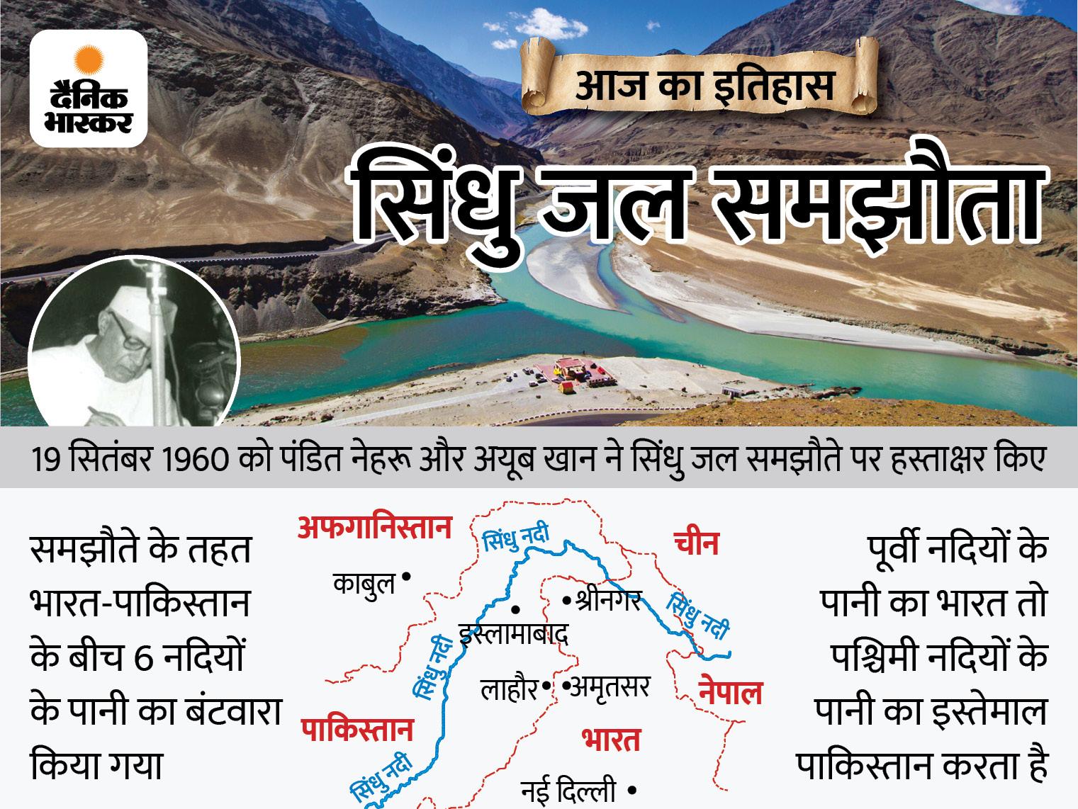 भारत-पाकिस्तान के बीच हुआ था सिंधु जल समझौता; दोनों देशों के बीच कई विवाद हुए, लेकिन ये समझौता 61 साल से नहीं बदला|देश,National - Dainik Bhaskar