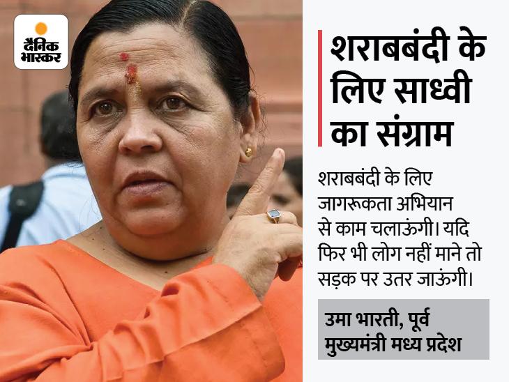पूर्व मुख्यमंत्री बोलीं- जन जागरूकता नहीं, लट्ठ से होगी शराबबंदी; 15 जनवरी के बाद खुद नेतृत्व करूंगी भोपाल,Bhopal - Dainik Bhaskar