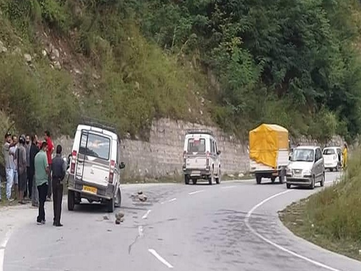 Traffic jam after road accident