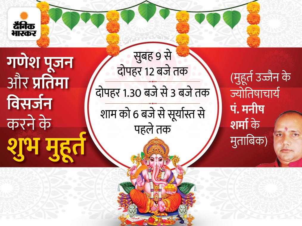 गणेश पूजन और प्रतिमा विसर्जन के 3 शुभ मुहूर्त, घर पर ही 10 सरल स्टेप्स में कर सकते हैं विसर्जन|धर्म,Dharm - Dainik Bhaskar