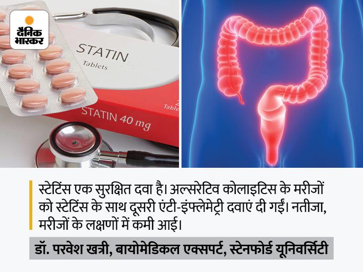 कोलेस्ट्रॉल घटाने वाली दवा 'स्टेटिंस' से हो सकेगा अल्सरेटिव कोलाइटिस का इलाज, यह आंतों की सूजन घटाने के साथ सर्जरी का खतरा कम करती है|लाइफ & साइंस,Happy Life - Dainik Bhaskar