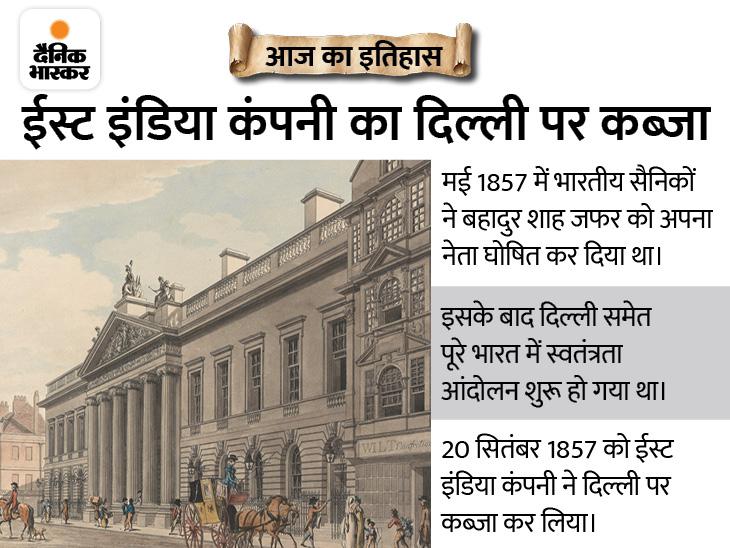 ईस्ट इंडिया कंपनी के दिल्ली पर कब्जे के साथ कमजोर पड़ी 1857 की क्रांति, बहादुर शाह जफर के 3 बेटों को उनके सामने अंग्रेजों ने मारी गोली देश,National - Dainik Bhaskar