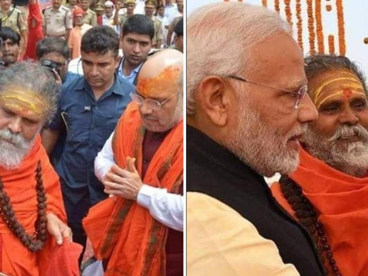 गृह मंत्री अमित शाह और प्रधानमंत्री नरेंद्र मोदी के साथ महंत नरेंद्र गिरि।