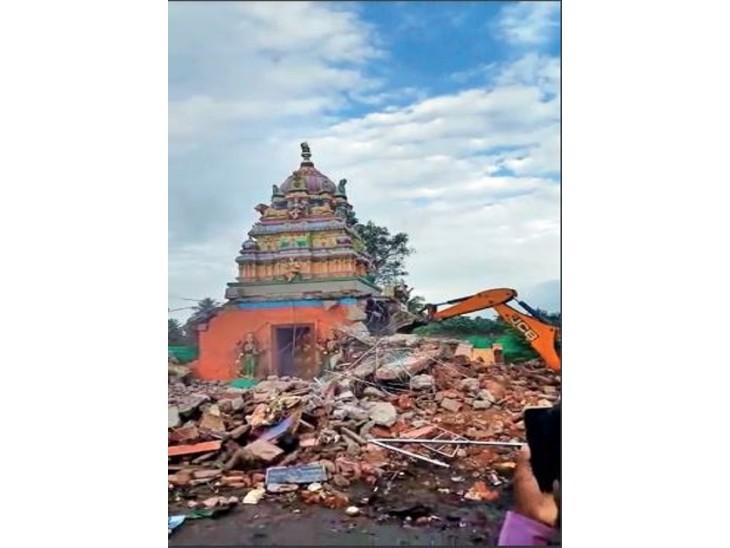 कर्नाटक में 800 साल पुराने महादेवम्मा मंदिर को गिराने पर बोम्मई सरकार घिरी, हिंदू संगठन नाराज|देश,National - Dainik Bhaskar