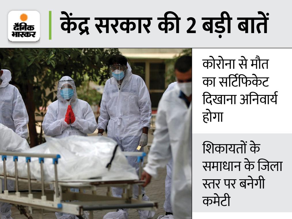 कोरोना से हुई मौत पर परिवार को 50 हजार रुपए का मुआवजा मिलेगा, 30 दिन में डीबीटी के जरिए होगा भुगतान देश,National - Dainik Bhaskar