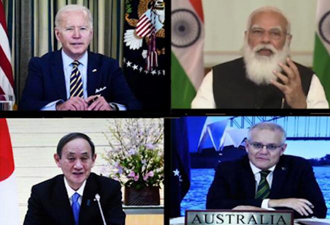 क्वॉड ग्रुप की वर्चुअल बैठक। इसमें अमेरिका, ऑस्ट्रेलिया, जापान और भारत के शीर्ष नेता शामिल हैं।