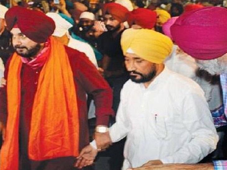 कैप्टन के तख्तापलट के बाद मुख्यमंत्री बने चन्नी से सिद्धू हर जगह आगे, कभी हाथ पकड़ कर खींचते हैं तो कभी कंधे पर रखते हैं हाथ|जालंधर,Jalandhar - Dainik Bhaskar