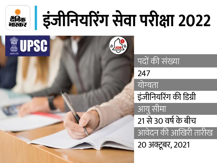 20 फरवरी 2022 को होगी यूपीएससी इंजीनियरिंग सेवा प्रारंभिक परीक्षा, इसके विभिन्न पदों पर भर्ती के लिए 20 अक्टूबर 2021 है आवेदन की आखिरी तारीख|करिअर,Career - Dainik Bhaskar