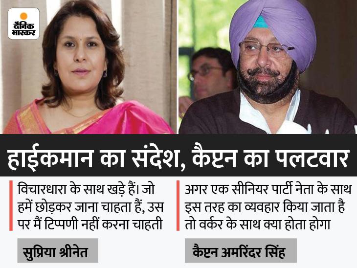 कांग्रेस प्रवक्ता सुप्रिया ने कहा, राजनीति में गुस्से की जगह नहीं; अमरिंदर ने पूछा-क्या पार्टी में जलालत और बेइज्जत करने की जगह है|जालंधर,Jalandhar - Dainik Bhaskar