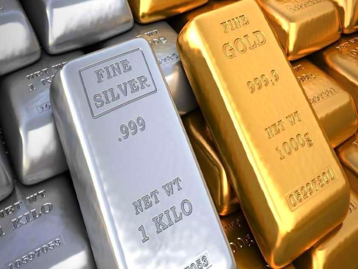 24 कैरेट प्रति तोला सोने की कीमत घटकर पहुंची 47 हजार 700, वहीं, 1 किलो चांदी की कीमत पहुंची 62 हजार 300|जयपुर,Jaipur - Dainik Bhaskar