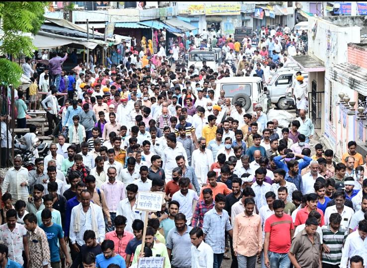 4 हजार लोगों ने पैदल मार्च निकाल SDM को सौंपा ज्ञापन; आरोपी को 7 दिन में फांसी और पीड़ित परिवार को सहायता देने की हुई मांग|नागौर,Nagaur - Dainik Bhaskar