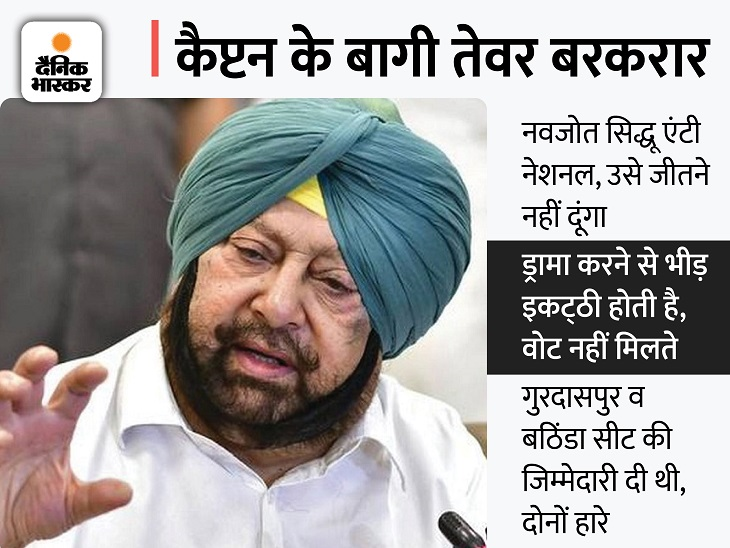 अमरिंदर सिंह बोले- सिद्धू पंजाब कांग्रेस के प्रधान हैं तो पार्टी से निकाल दें, इससे मुझे कोई फर्क नहीं पड़ता जालंधर,Jalandhar - Dainik Bhaskar