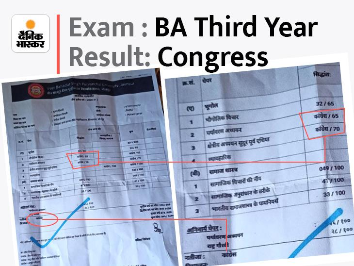 जौनपुर में BA थर्ड ईयर छात्र की मार्कशीट में मिली गड़बड़ी, परीक्षा नियंत्रक बोले- फॉन्ट की गड़बड़ी से हुआ ऐसा|जौनपुर,Jaunpur - Dainik Bhaskar
