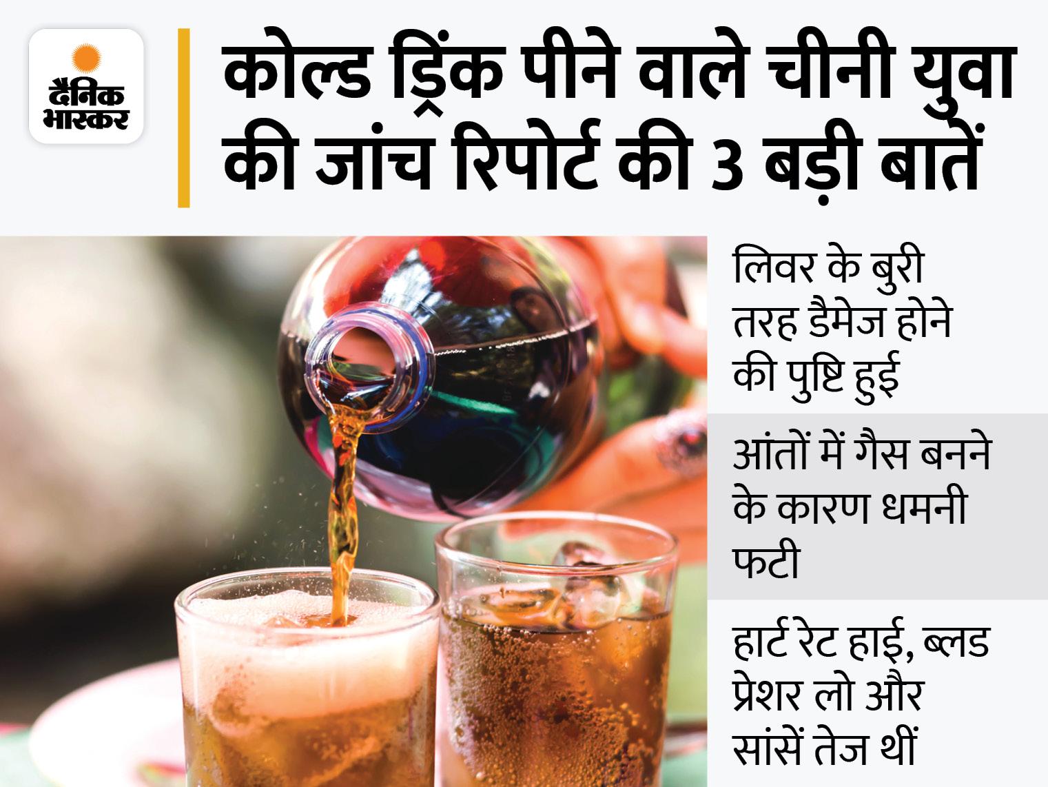 22 साल के शख्स ने 10 मिनट में डेढ़ लीटर कोल्ड ड्रिंक पी, पेट में गैस बनने से धमनी फटी और लिवर डैमेज हुआ; पढ़ें पूरा मामला|लाइफ & साइंस,Happy Life - Dainik Bhaskar