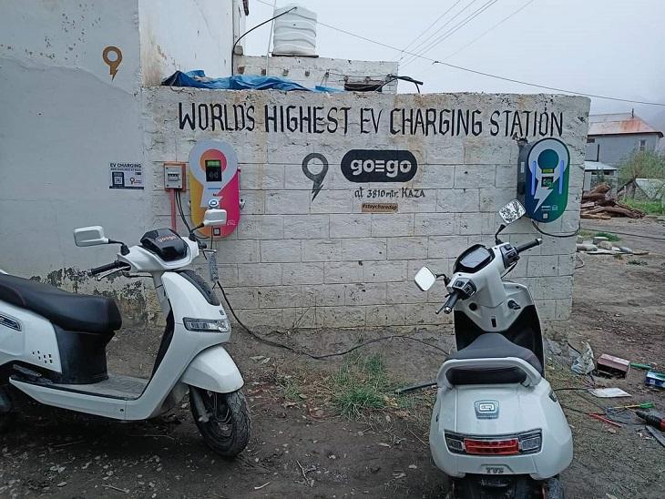 काजा मेंं खुला विश्व का सबसे ऊंचा इलेक्ट्रॉनिक चार्जिंग स्टेशन। - Dainik Bhaskar
