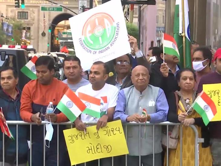 न्यूयॉर्क में UNGA ऑफिस के सामने फेडरेशन ऑफ इंडियन एसोसिएशन के लोग।