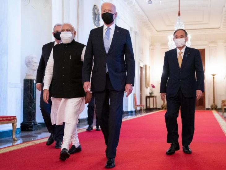 मोदी ने बाइडेन को बताए गांधी के सिद्धांत, भारत-अमेरिका-ऑस्ट्रेलिया और जापान के लीडर्स के बीच दिखी शानदार केमिस्ट्री|विदेश,International - Dainik Bhaskar