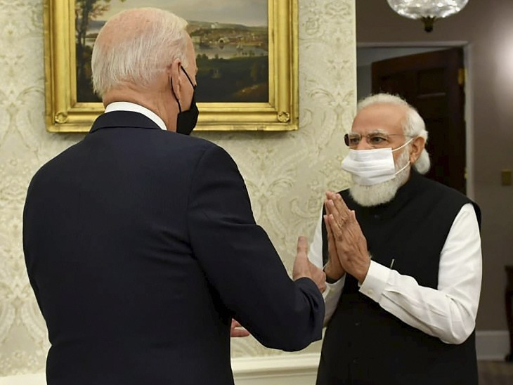PM मोदी अमेरिकी राष्ट्रपति जो बाइडेन से मुलाकात करने व्हाइट हाउस पहुंचे। बाइडेन 20 जनवरी को अमेरिका के राष्ट्रपति बने थे। तब प्रधानमंत्री मोदी ने उन्हें फोन पर बधाई दी थी। इसके बाद दोनों नेताओं की यह पहली मुलाकात थी।