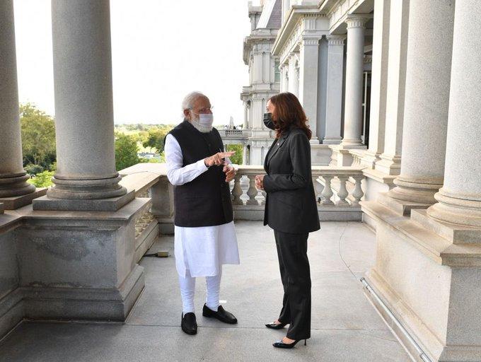 Prime Minister Narendra Modi, who was visiting America, met US Vice President Kamala Harris on 23 September.