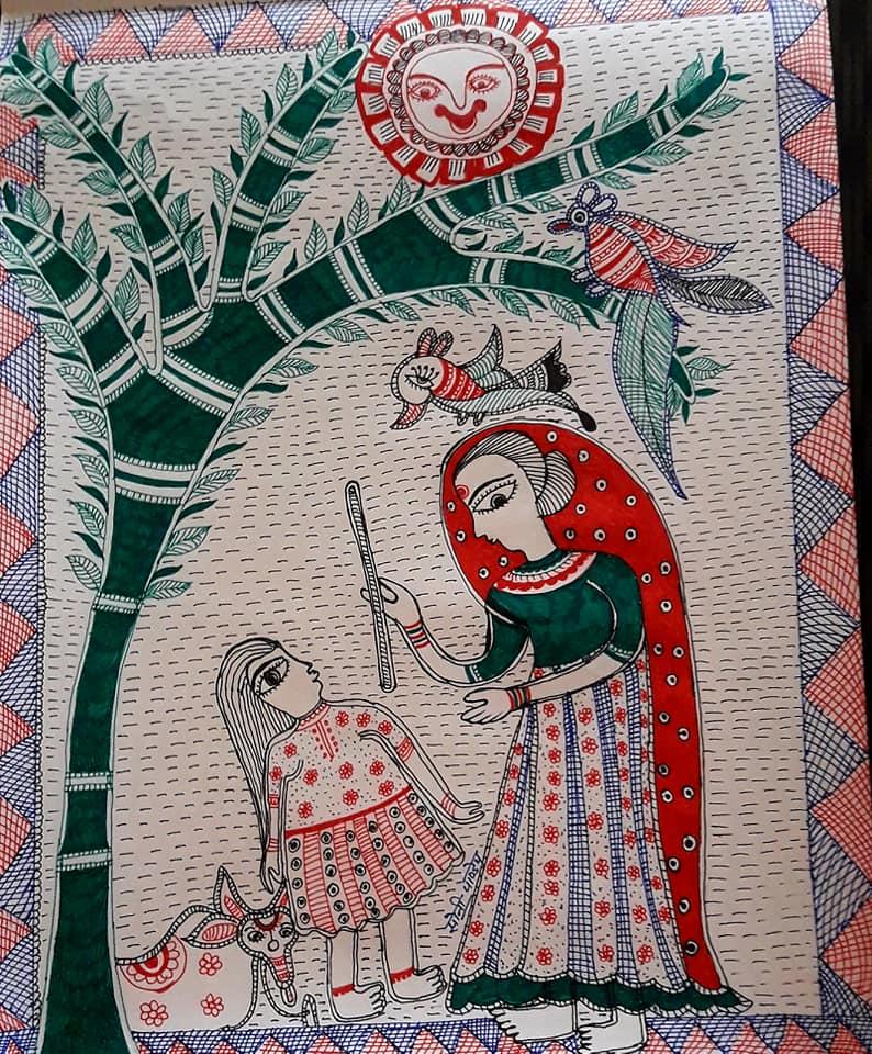 सोनी पाण्डेय ने मधुबनी पेंटिंग में भी बनाई पहचान।