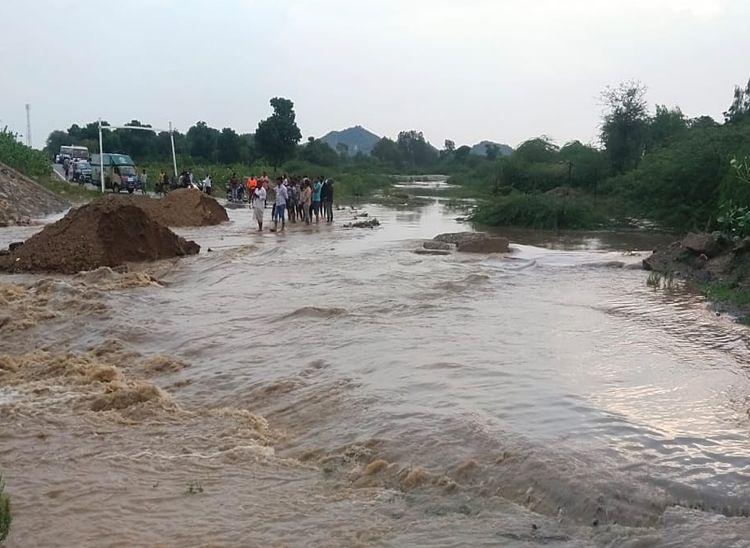 रानी में 7MM, जवाई बांध क्षेत्र में 40MM बरसात; बढ़ा जवाई का जलस्तर|पाली,Pali - Dainik Bhaskar