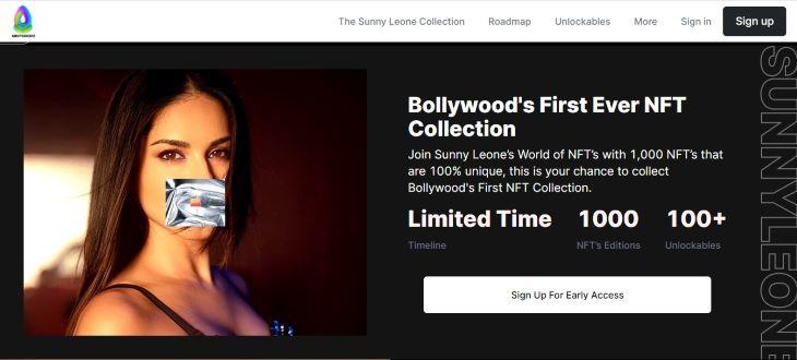 सनी लियोनी ने NFT के लिए खुद अपनी साइट sunnyleonenft.com बनाई है।