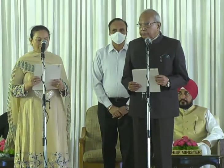 मंत्री पद की शपथ लेतीं अरुणा चौधरी।