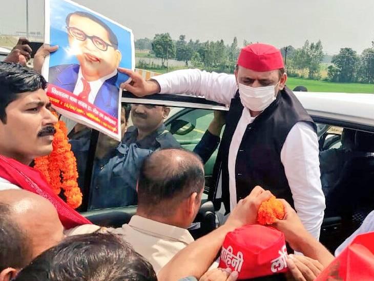 पूर्वांचल एक्सप्रेस-वे पर फर्राटा भर गई अखिलेश यादव की गाड़ियां, सुल्तानपुर से जा रहे थे आजमगढ़|अमेठी,Amethi - Dainik Bhaskar